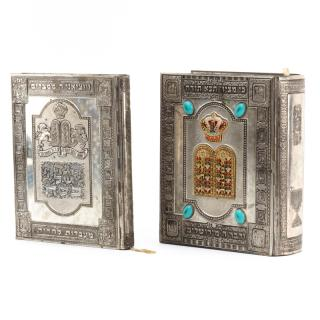 Two Judaica Silver Plate Covered Books  Two