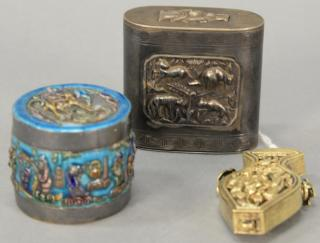 Group of three Oriental silver boxes including