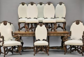 Eleven piece walnut dining room set with
