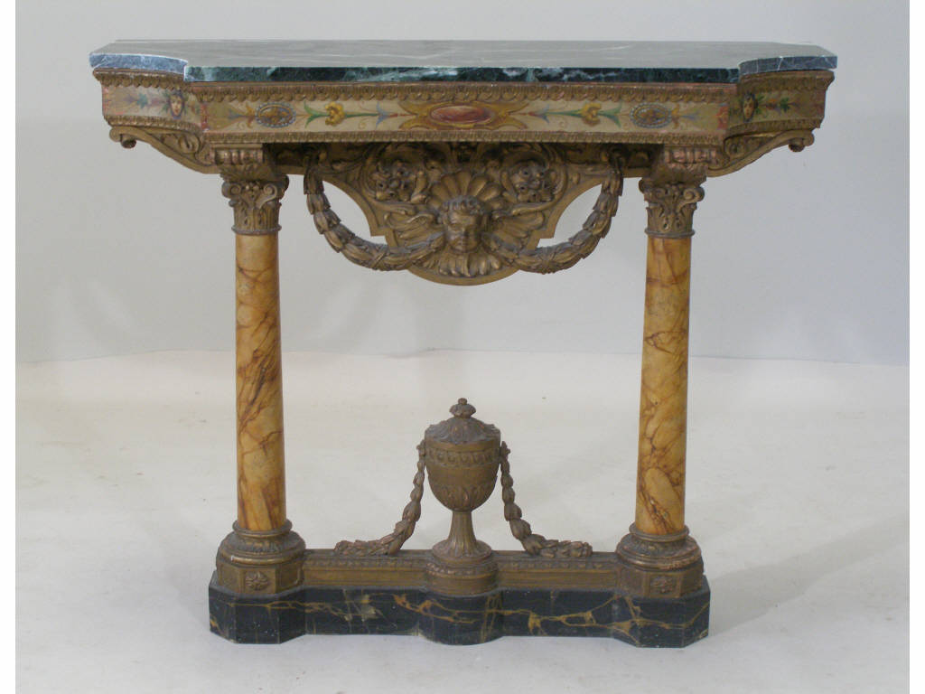 Paint & Faux Decorated Marble Top Console