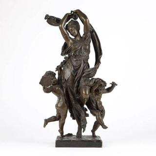 A bronze figural group, after A. Late 19th