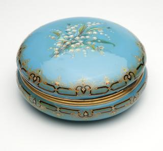 A French gilt and enameled jewelry box  Late