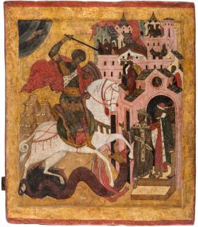A MONUMENTAL RUSSIAN ICON OF SAINT GEORGE