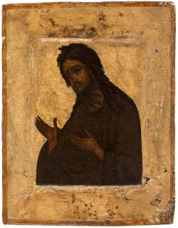 A RUSSIAN ICON OF ST JOHN THE BAPTIST, MOSCOW,