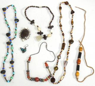7 Assorted Wood, Silver & Ethnographic Jewelry