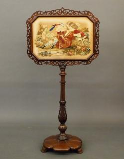 Victorian needlework fire screen  A 19th