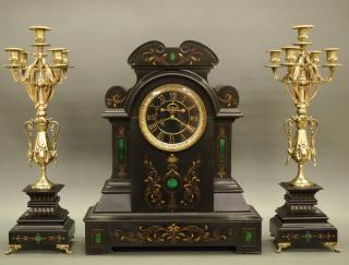 French Mantel clock and candelabra  A late
