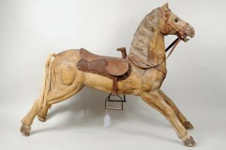 Folk Art Carved Wooden Rocking Horse  Folk