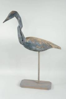 Folk Art Carved & Painted Wood Blue Heron