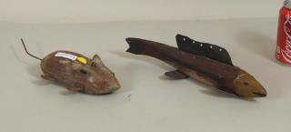 Two Folk Art Carved & Painted Fishing Lures
