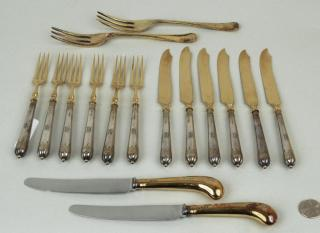 Group English & European Silver Gilt Flatware