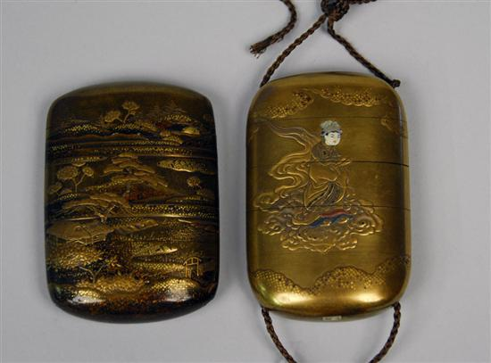 TWO JAPANESE FOUR CASE LACQUER INRO