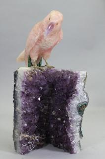 Carved Rose Quartz Parrot on Amethyst Geode