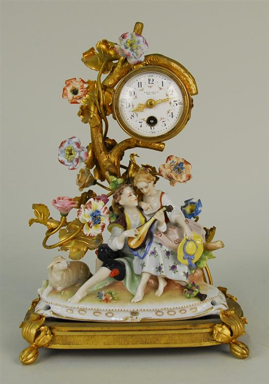 FRENCH FIGURAL AND FLORAL PORCELAIN AND GILT
