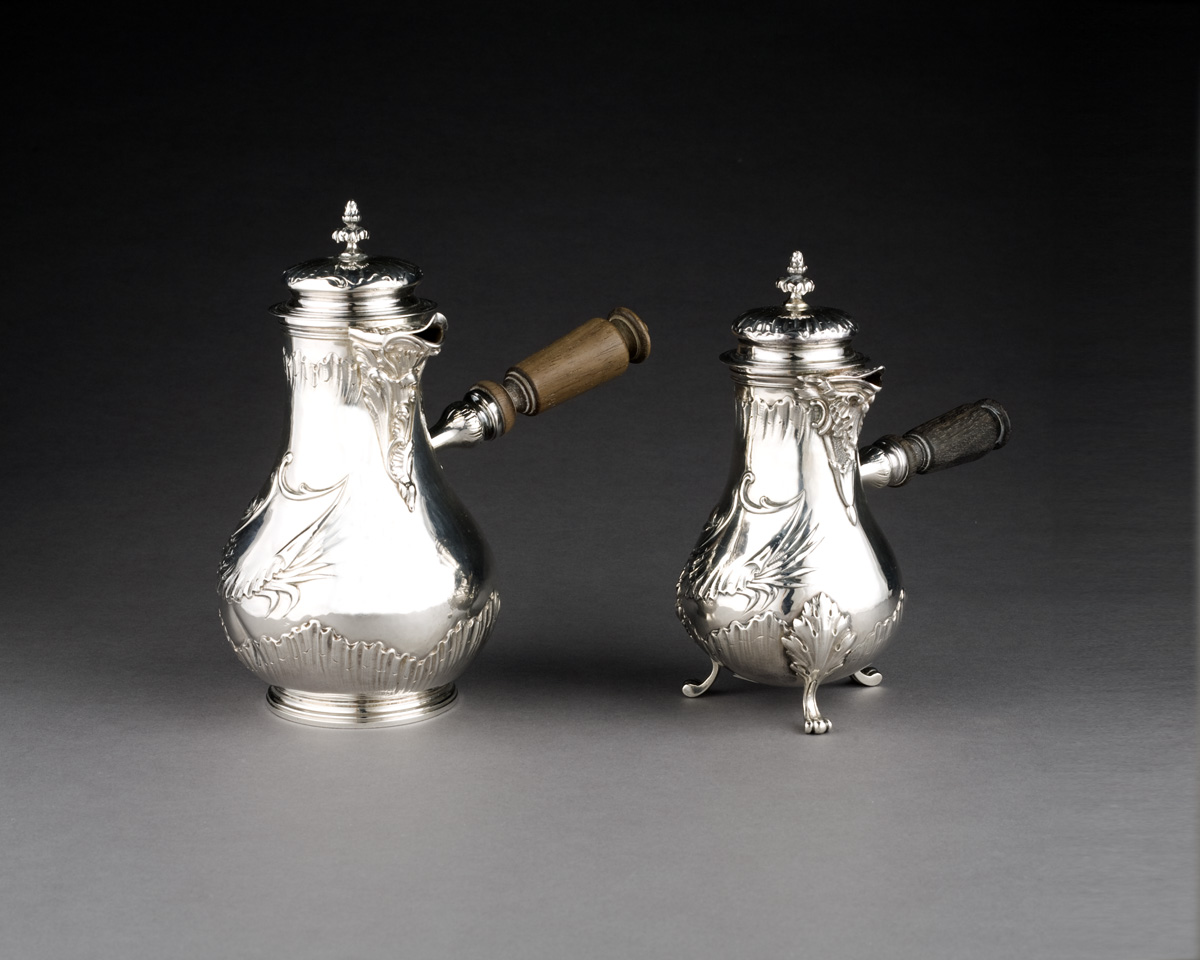 FRENCH SILVER CHOCOLATE POT AND A COFFEEPOT,