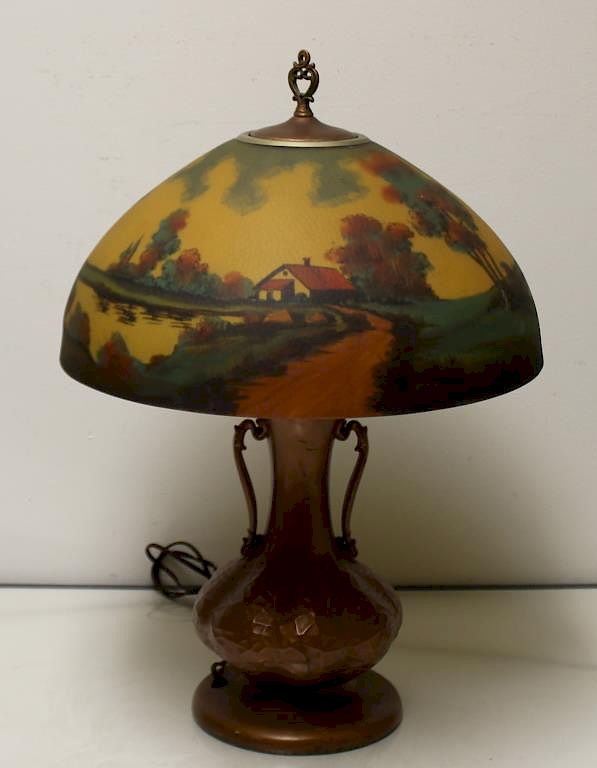 JEFFERSON. Reverse Painted Table Lamp. :