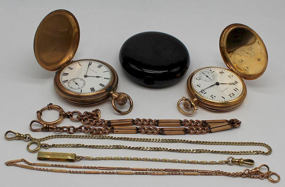 JEWELRY. 14kt Gold Pocket Watch and Fob Grouping.