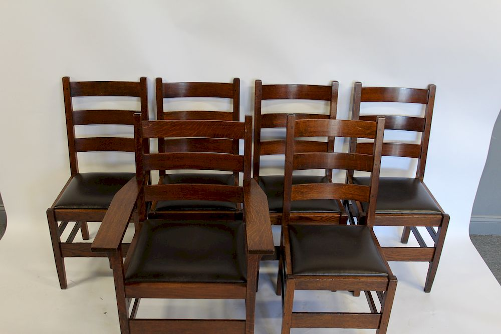 Price Guide For Gustav Stickley 6 Dining Chairs Model