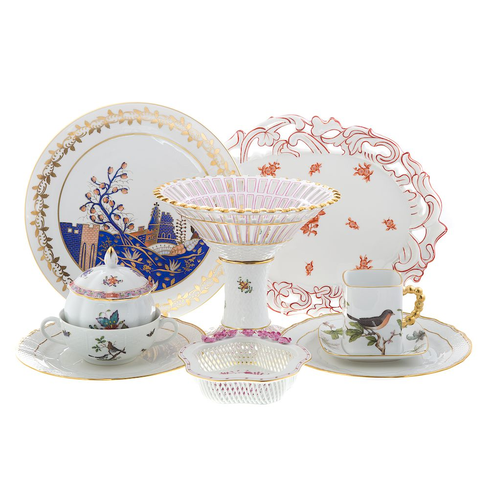 10 pieces of Herend porcelain tableware:
