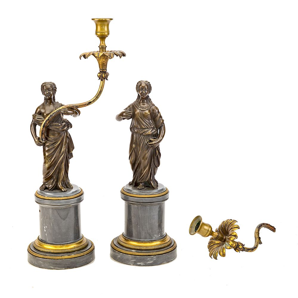 Pair French Empire style bronze candleholders: