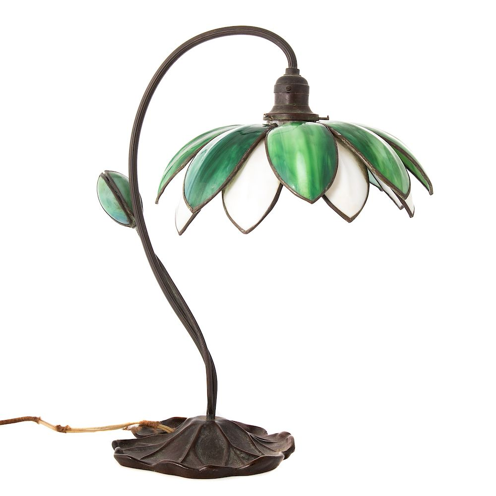 Handel bronze and glass Water Lily lamp: