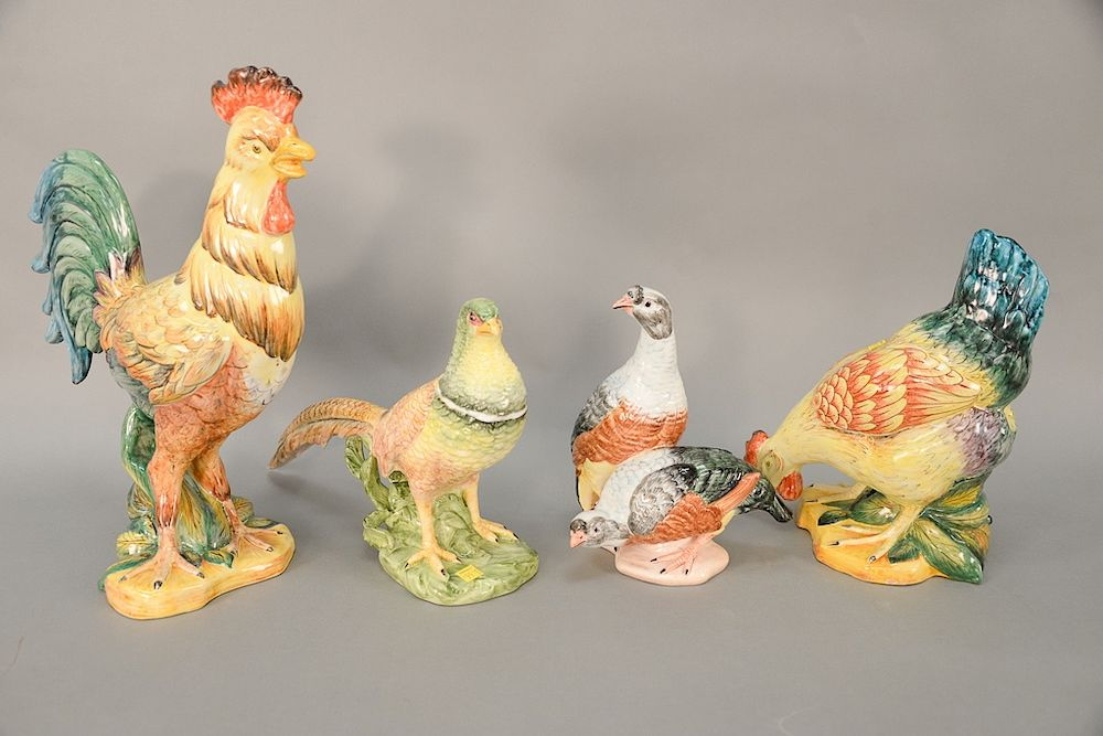 Group of bird figurines to include two Faiencerie