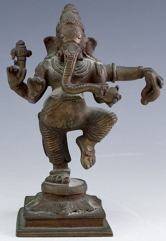 Vintage Indian Cast Bronze Standing Ganesh