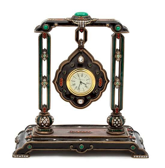 An American Enamel and Brass Desk Clock Height