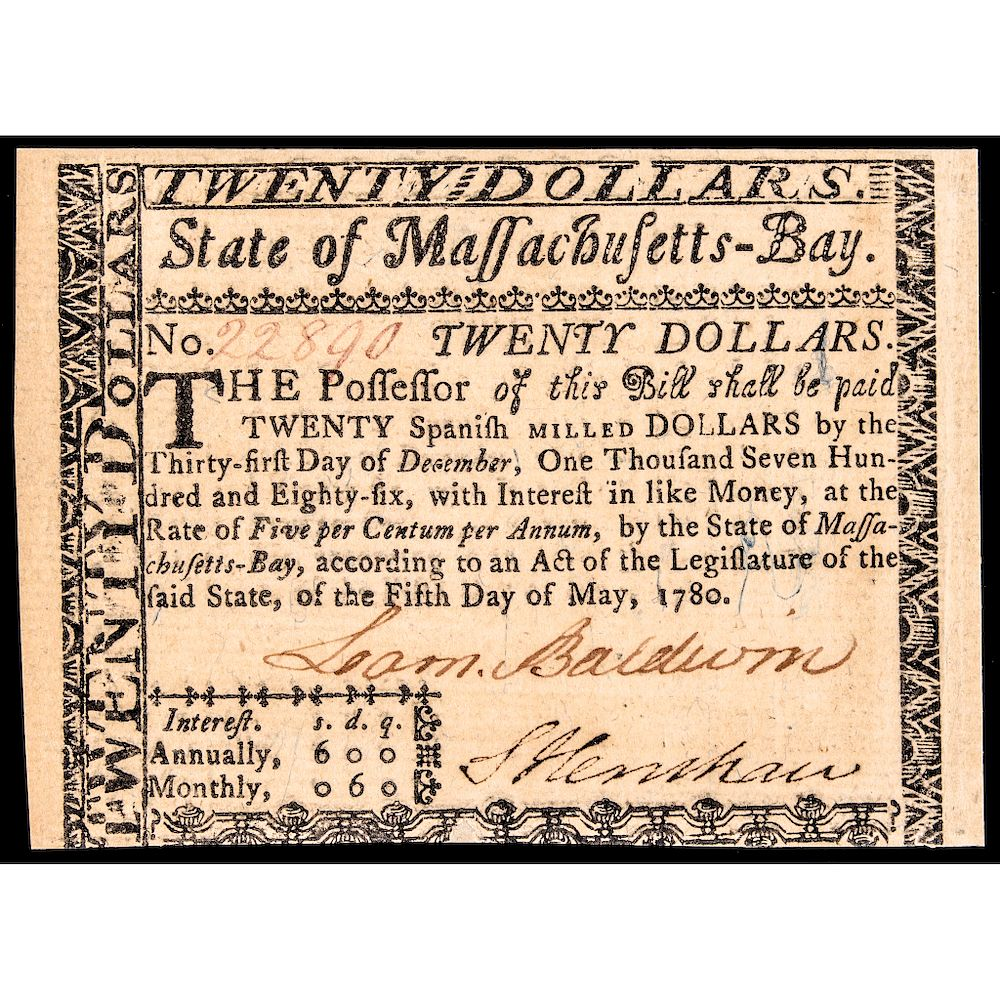 Colonial Currency COLONEL LOAMMI BALDWIN