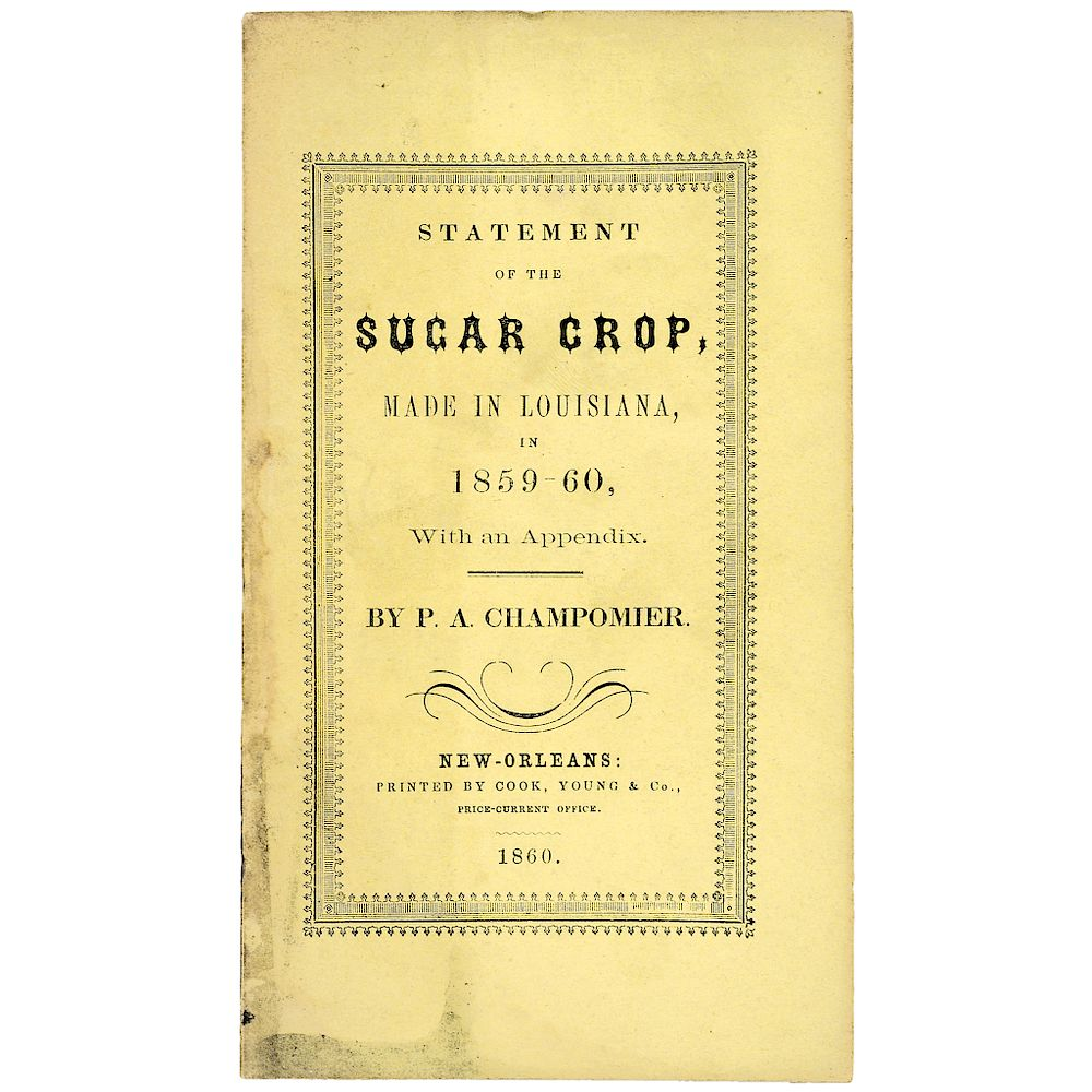 1860 Louisiana Sugar Crop Publication:  Post-Revolutionary