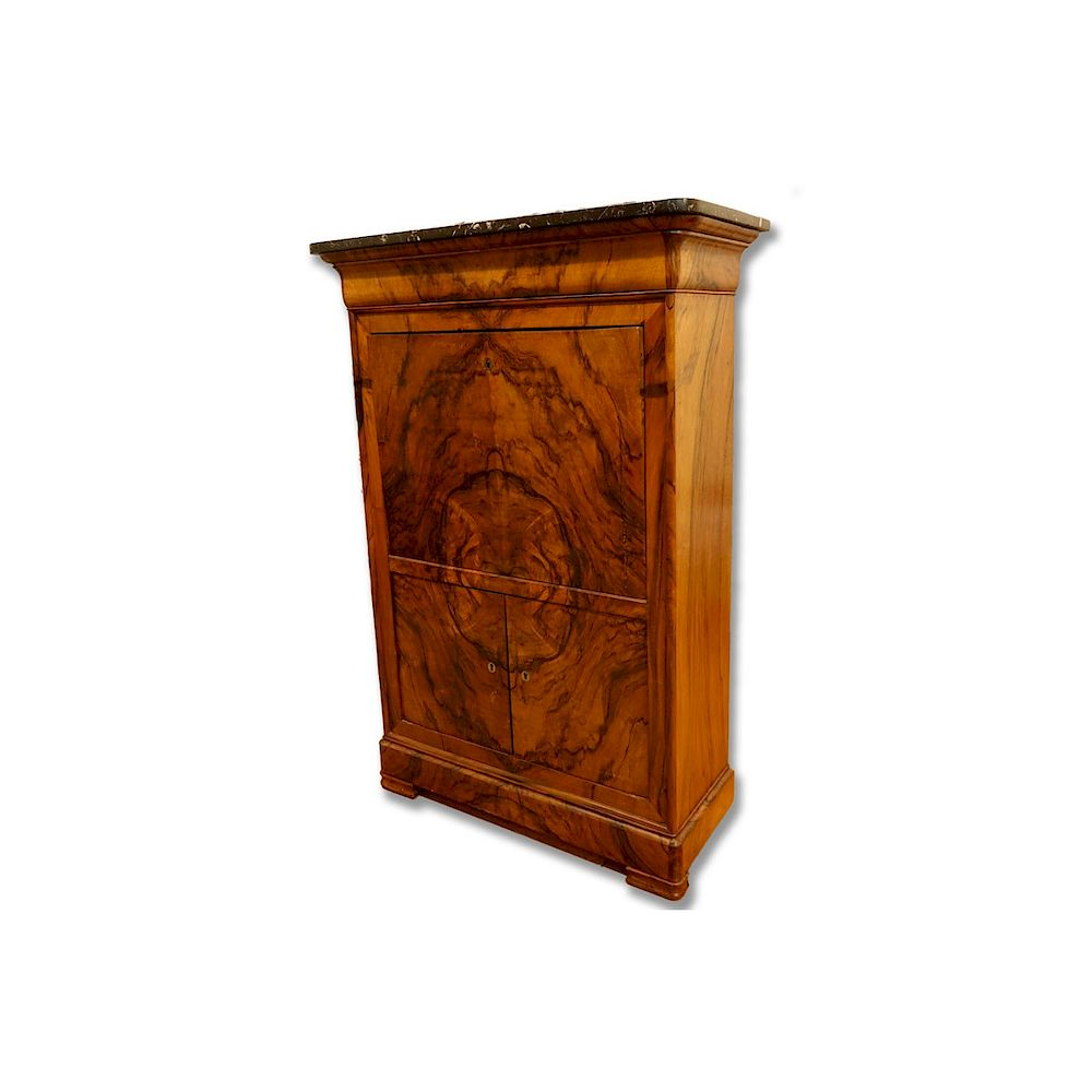 French Louis Philippe Burled Walnut Secretary