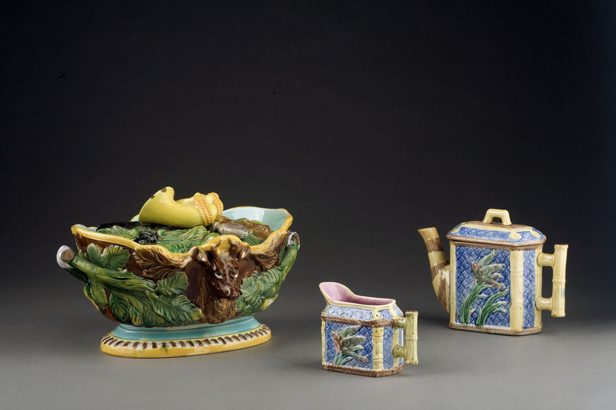 ENGLISH MAJOLICA GAME DISH AND COVER,  NINETEENTH
