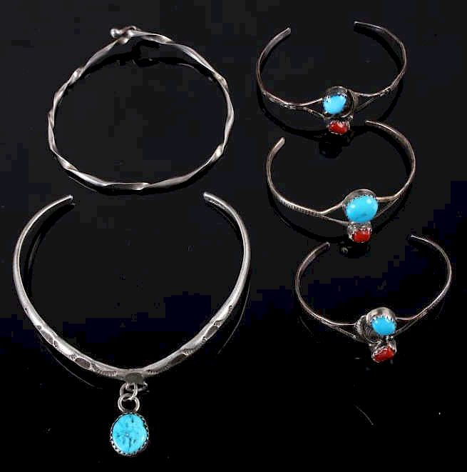 Collection of Navajo Silver & Turquoise Bracelets: