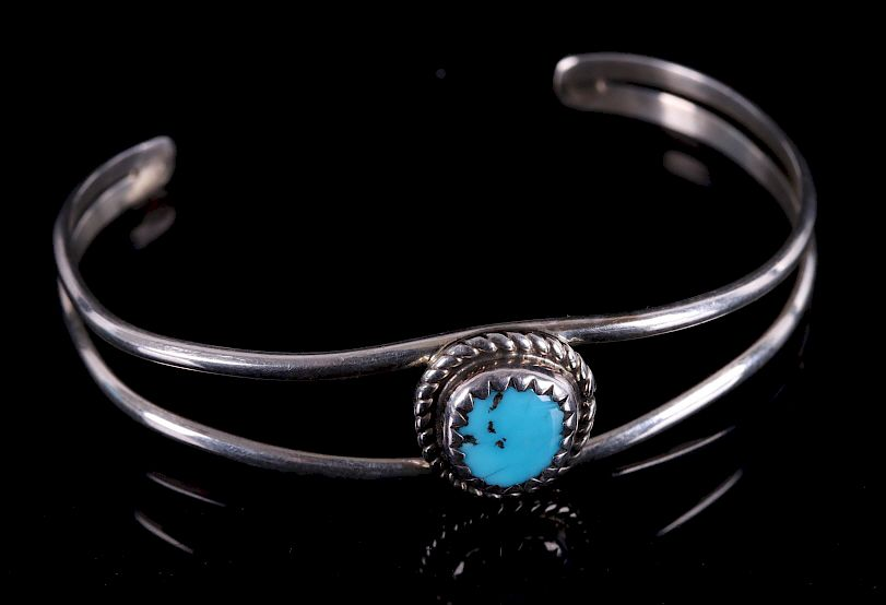 Navajo Signed Child Sterling & Turquoise