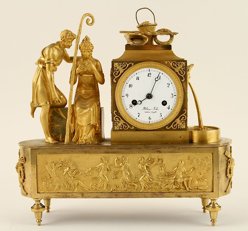 EARLY 19TH C. FRENCH GILT BRONZE MANTLE CLOCK: