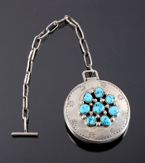 Tommy Moore Navajo Sterling Pocket Watch