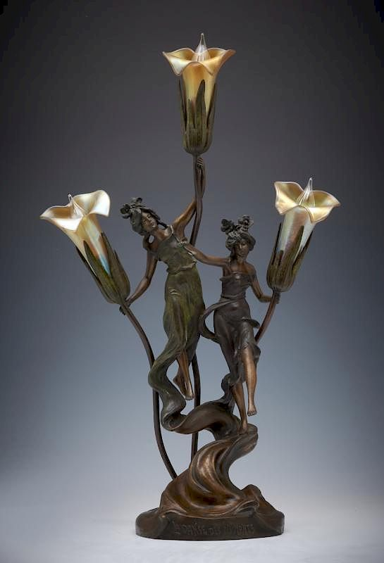 """La Danse Des Nymphes"" bronze lamp with art"