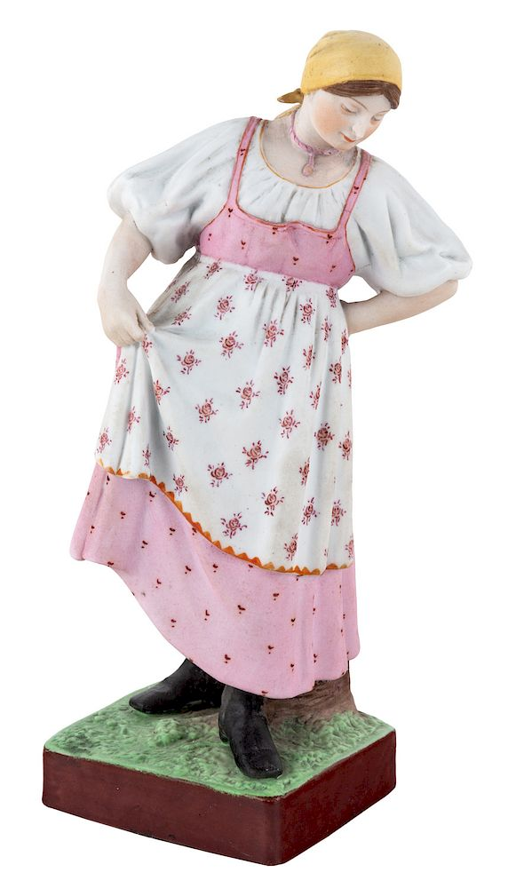 A RUSSIAN PORCELAIN FIGURE OF A DANCING PEASANT