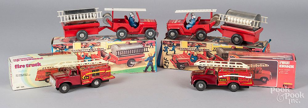 Two French Jeep Pompiers tin wind-up fire