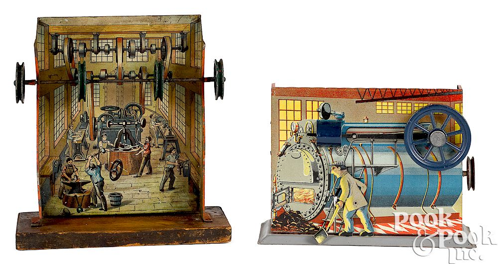 Two lithograph tin factory steam toy accessories: