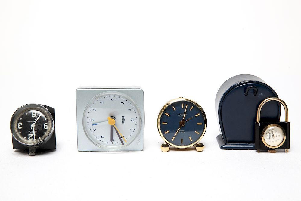 Group of Travel & Alarm Clocks, 4:  Group