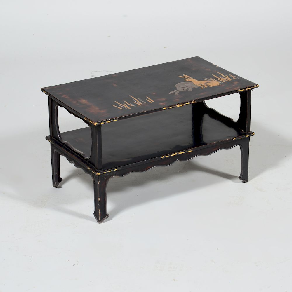 Japanese Black Lacquer and Parcel-Gilt Two