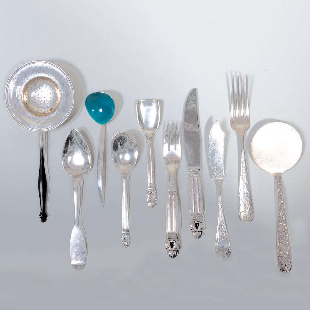 Group of Silver Flatware:  Each marked 'Sterling'