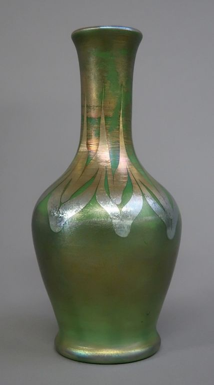 Art Glass Iridescent Green Vase:  Possibly