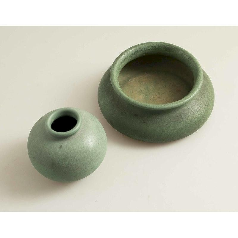 Teco Art Pottery Bowl & Vase:  Teco art pottery