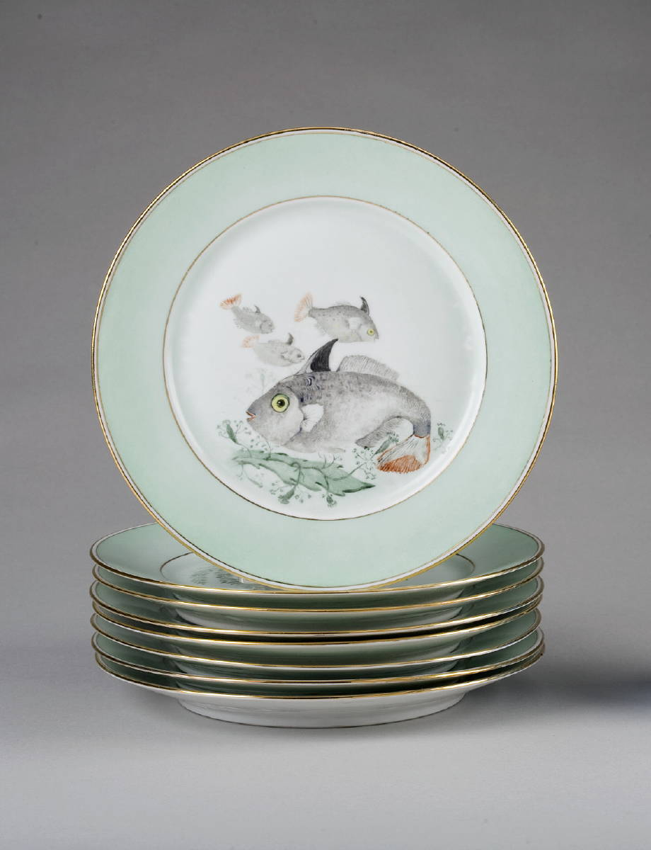 SET OF EIGHT LIMOGES PORCELAIN FISH PLATES,