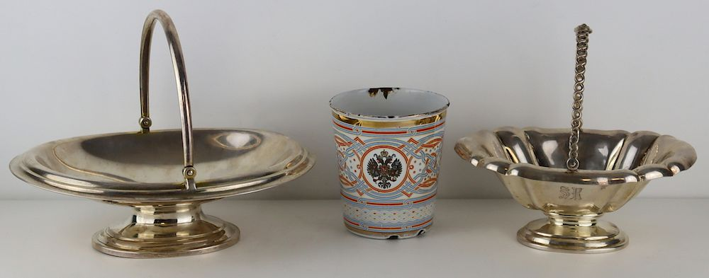 SILVER. Assorted Grouping of Russian Objects.