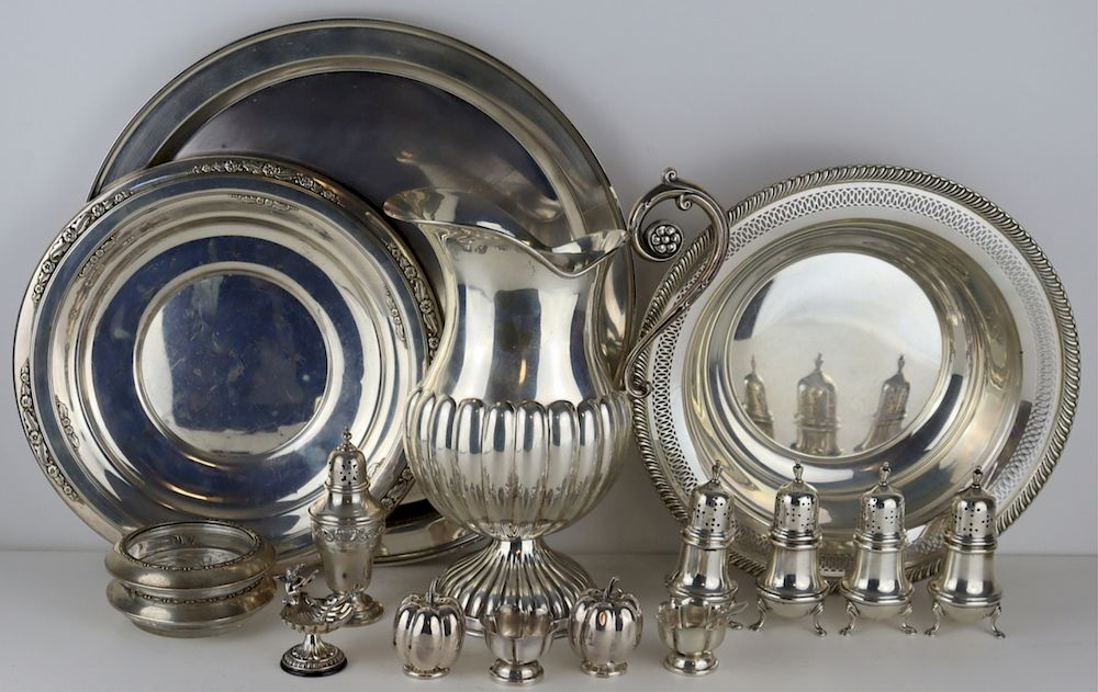 SILVER. Assorted Silver Hollow Ware Grouping.