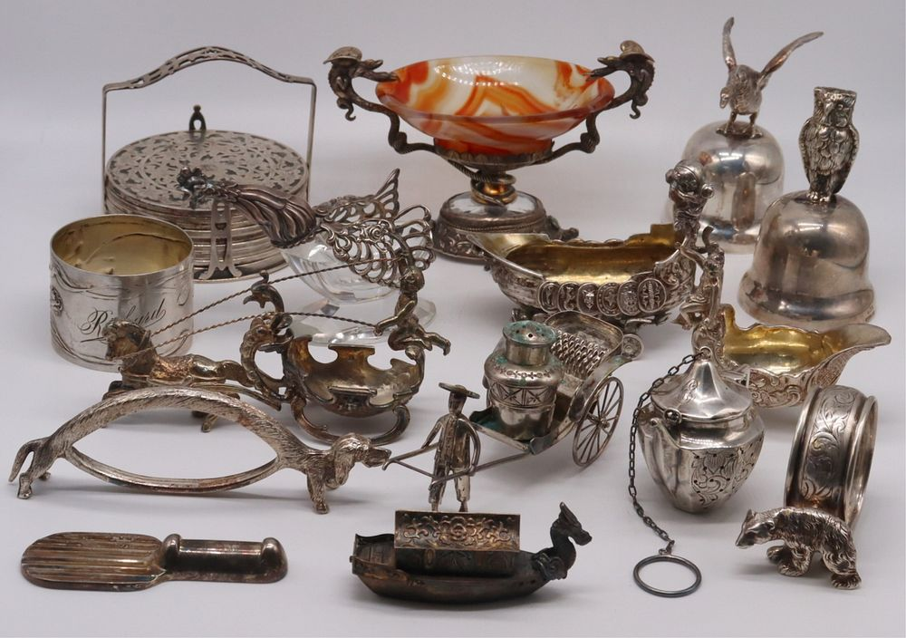 SILVER. Assorted Continental Silver Objets