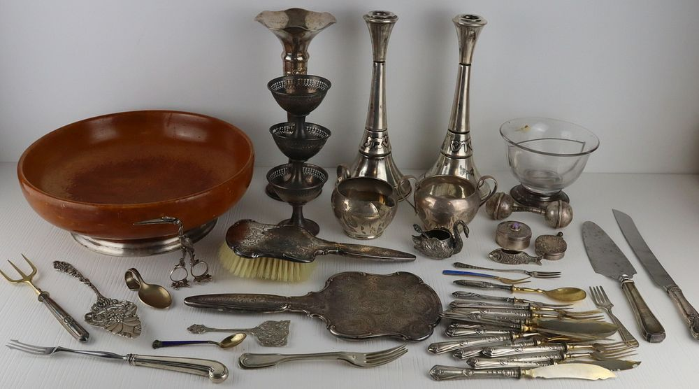 SILVER. Assorted Silver Hollow Ware and Flatware.